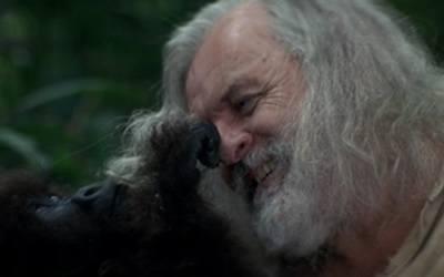 Ethan Powell jugando con un bebé gorila